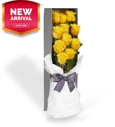 send 12 yellow color roses in box