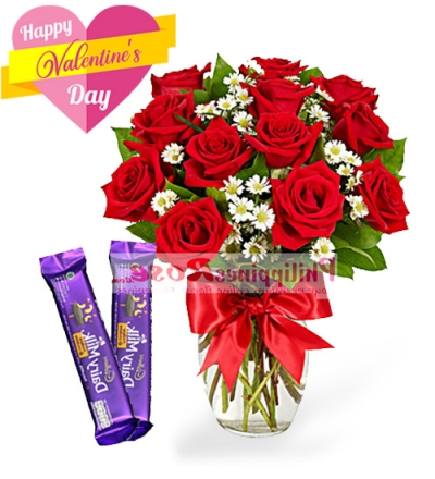 12 Red Roses in a vase with 2pcs Cadbury Cashew & Cookies 30g bar