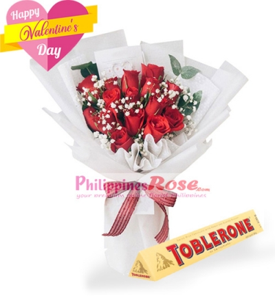 12 Red Roses Bouquet with Toblerone Chocolate