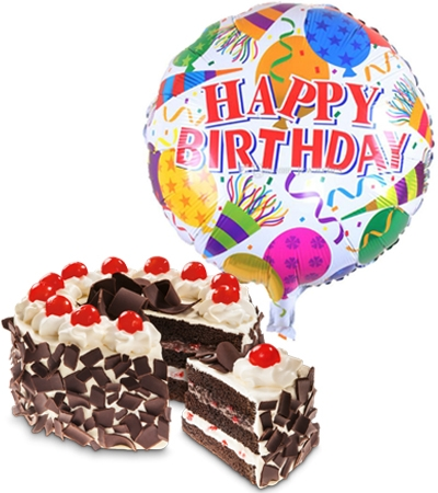 black forest cake with birthday balloon to philippines