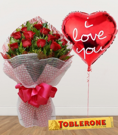 12 Red Roses with Chocolate and Balloon