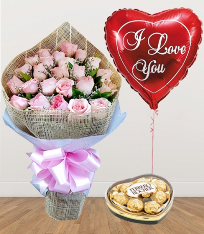24 Pink Roses with Chocolate and Balloon
