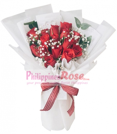 One Dozen Red Roses in Bouquet to Philippines