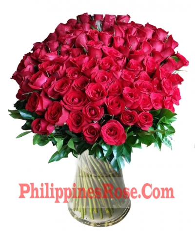 buy 100 pink roses vase to philippines