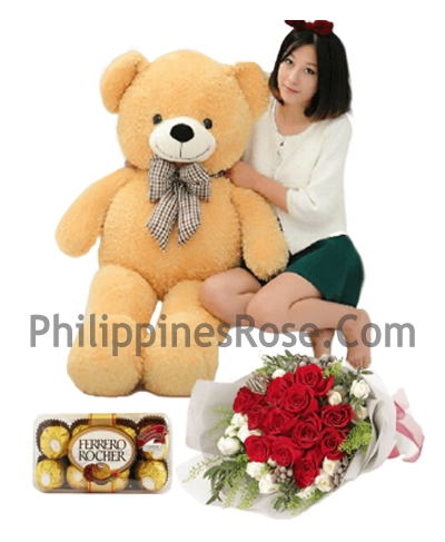 4 ft bear with rose bouquet and ferrero chocolate to philippines