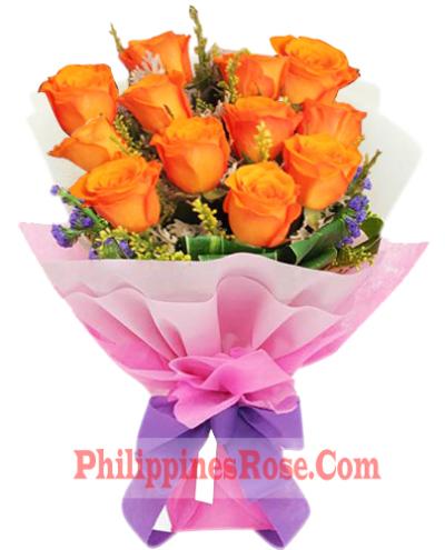 online 12 orange roses bouquet philippines