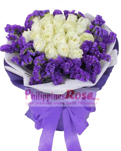 12 white rose bouquet to philippines