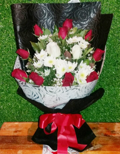 Two Dozen Red Roses in Bouquet