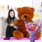 pink rose bouquet with giant teddy bear to philippines