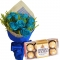 12 Blue Roses with Ferrero Rocher Box