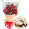 12 Red Roses with Rocky Road Cake By Red Ribbon